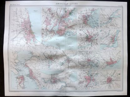 Bartholomew 1922 Large Map. American Cities, New York, San Francisco, etc